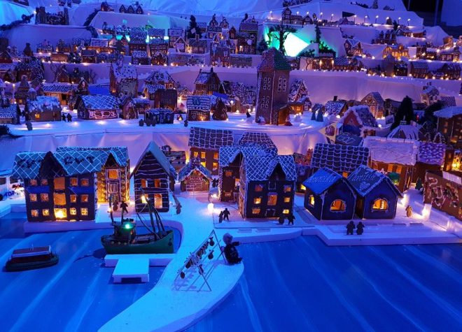 Sandviken and Norwegian Fisheries Museum. The worlds largest Gingerbread Town in Bergen, Norway