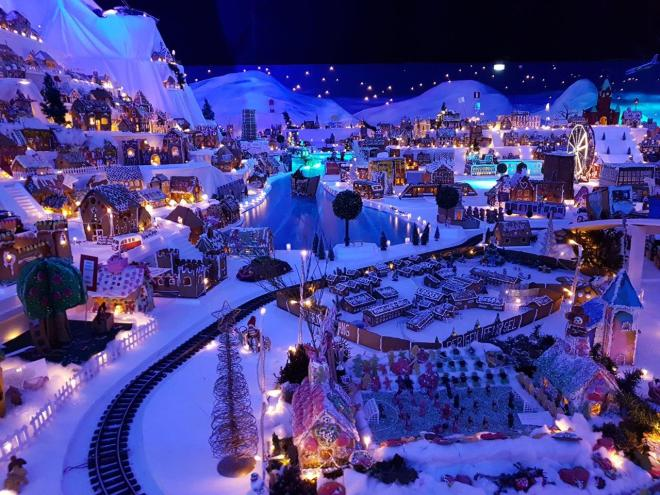 The worlds largest Gingerbread Town in Bergen. Norway