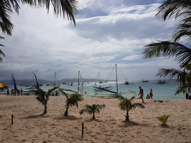 The beach at Station 3 in Boracay island. The Philippines