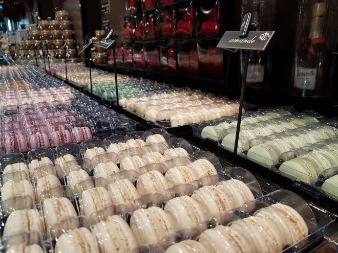 The large collection of macrons at Georges Larnicol. Food tour Paris, France. Withlocals