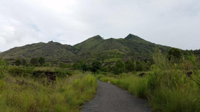 Batur Volcano. You can clearly see the traces of the lava streams along the side of the volcano. The past 200 years, Batur has erupted 26 times. Bali, Indonesia.