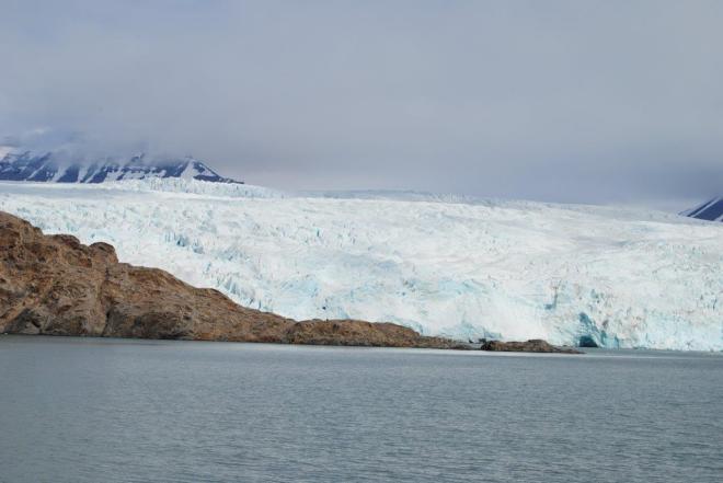 Blue ice at the massive glacier Nordenskiöldbreen. Svalbard. Spitsbergen. Norway