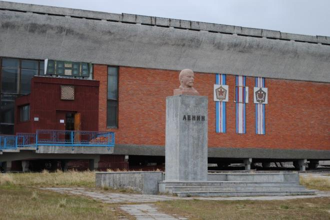 Lenin in front of the cultural center. Pyramiden. Svalbard. Spitsbergen. Norway