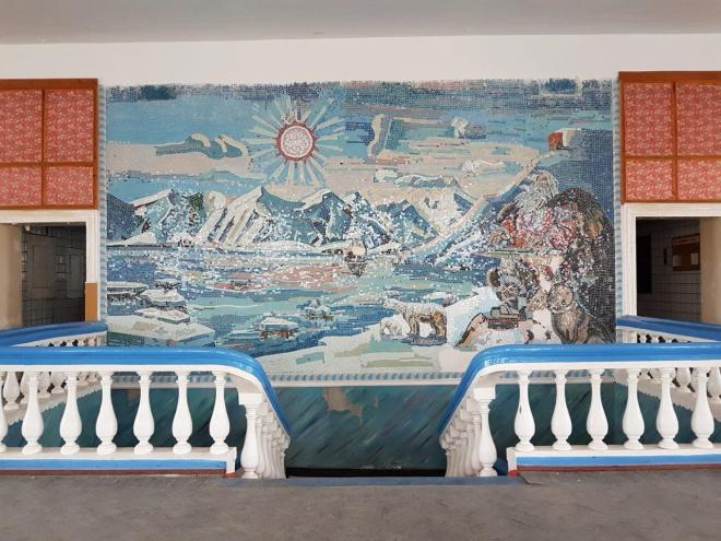 Mosaic art in the cantina. Pyramiden. Svalbard. Spitsbergen. Norway