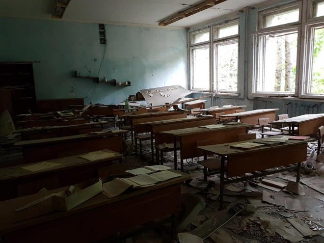 One of the classrooms at the school. Pripyat, Chernobyl, Ukraine
