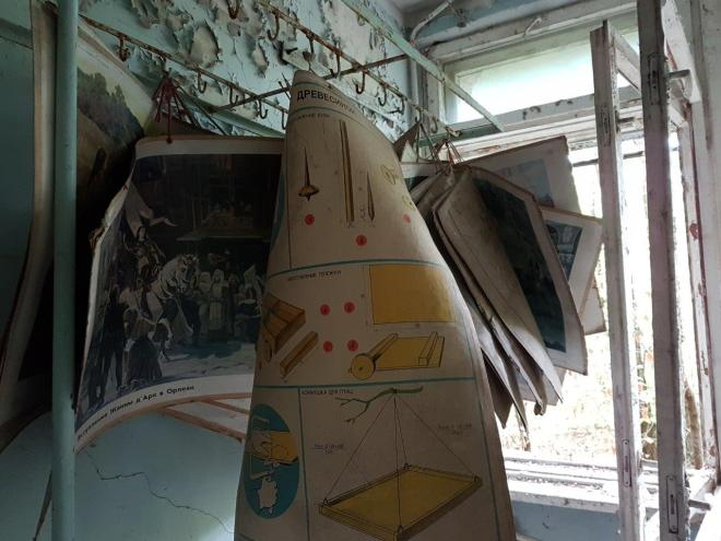 Posters with historical photos hanging side by side the woodwork instructions. Pripyat, Chernobyl, Ukraine
