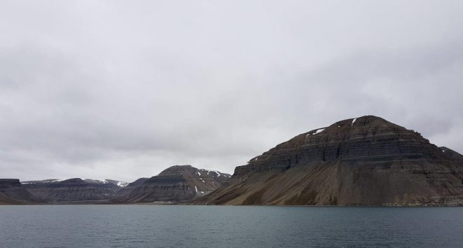 Skansbukta bay in the outer part of Billefjorden. Svalbard. Spitsbergen. Norway