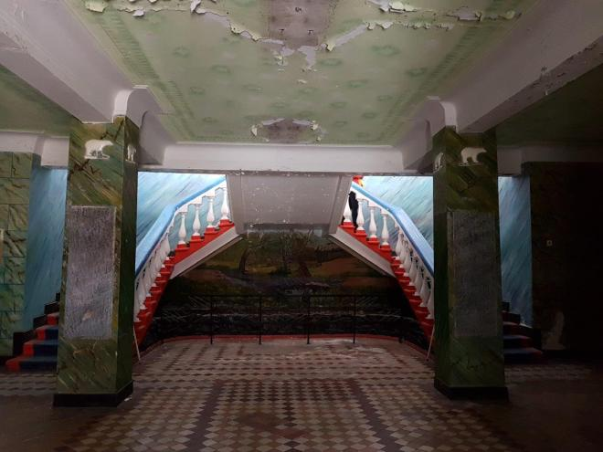 The main staircase in the cantina. Pyramiden. Svalbard. Spitsbergen. Norway