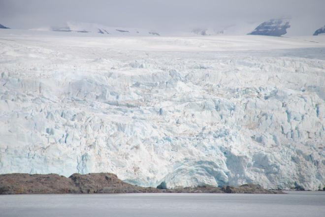 The massive glacier Nordenskiöldbreen up close. Near Pyramiden. Svalbard. Spitsbergen. Norway