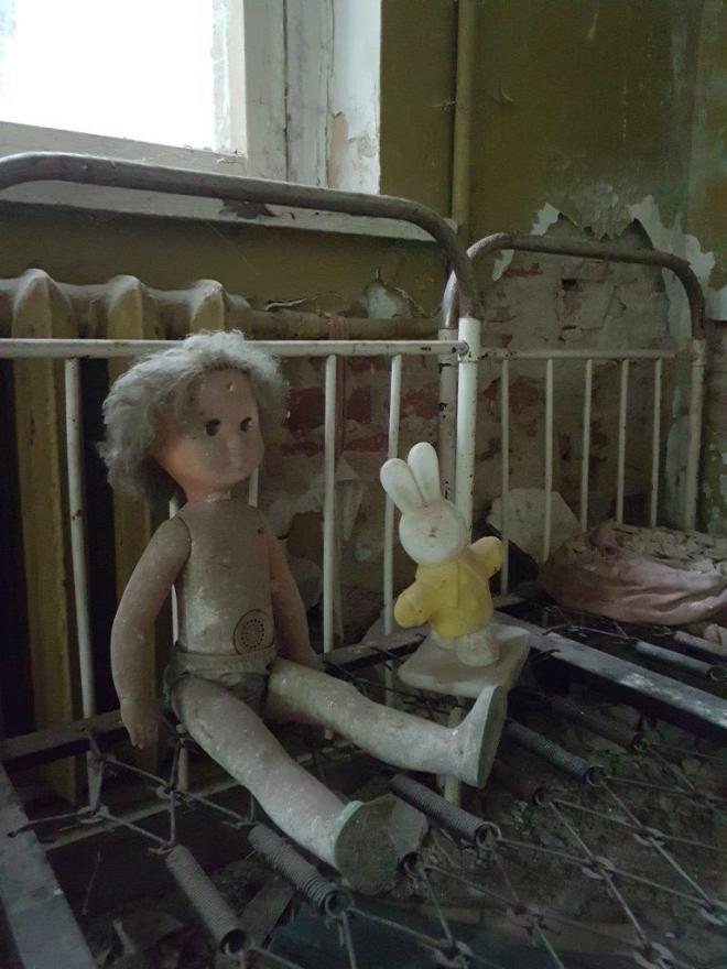 Toys in one of the abandoned kindergarten. Kopachi village. Chernobyl, Ukraine.