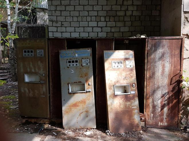 Vending machines by the recreation area. Pripyat, Chernobyl, Ukraine