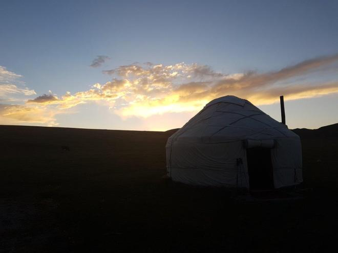 A beautiful day is coming to an end. Three day horse-riding trip to Song Kul, Kyrgyzstan.