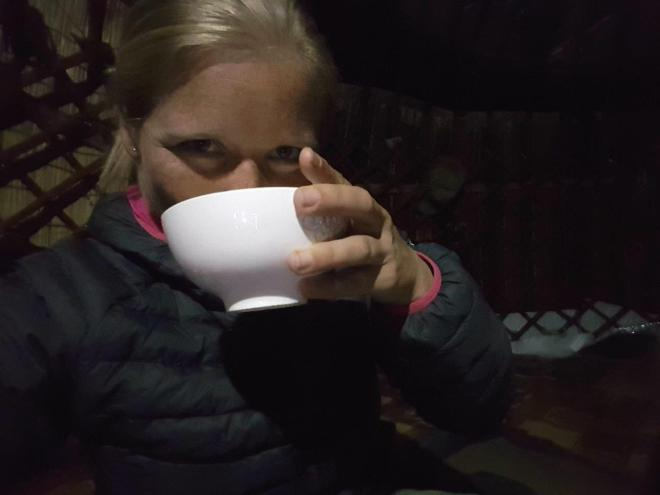 A full tea bowl with kumis. Three day horse-riding trip to Song Kul, Kyrgyzstan.