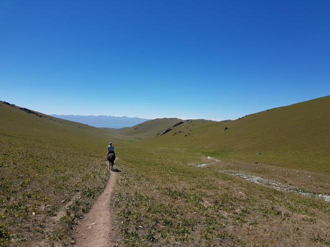 Heading towards Song Kul. Three day horse-riding trip to Song Kul, Kyrgyzstan.