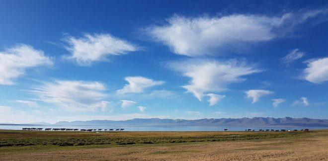 Morning mood by Song Kul lake. Three day horse-riding trip to Song Kul, Kyrgyzstan.