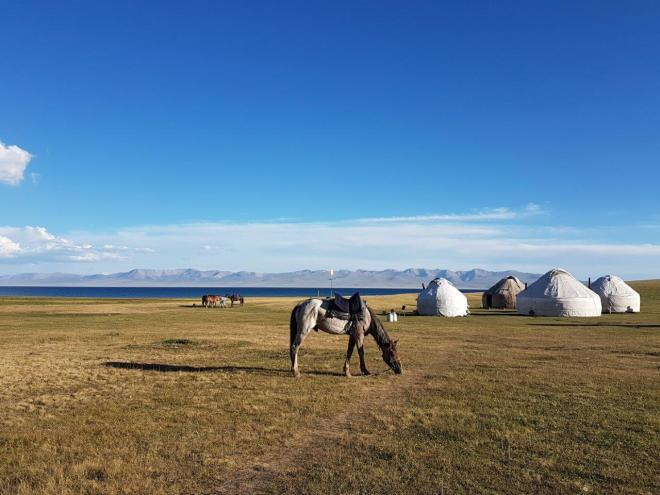 Our yurt camp by Song Kul. Three day horse-riding trip to Song Kul, Kyrgyzstan.