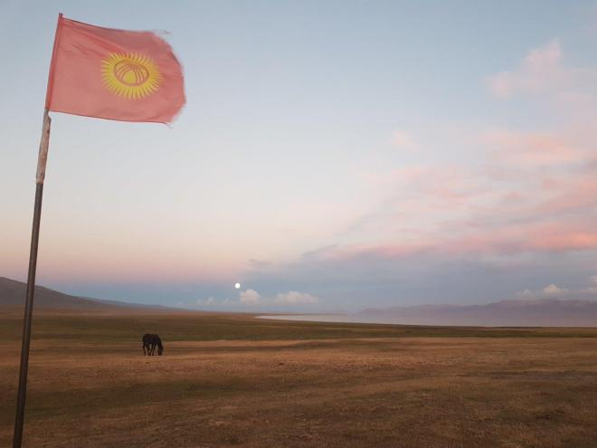 Sunset and full moon by Song Kul. Three day horse-riding trip to Song Kul, Kyrgyzstan.