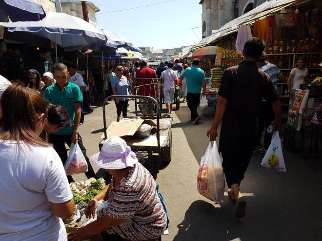 Walking through Osh Bazaar. Food tour in Bishkek, Kyrgyzstan