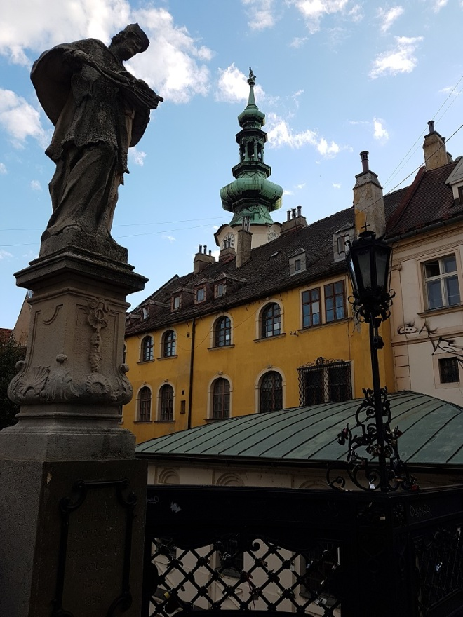By the Michael's gate, the north entrance to the once fortified old town of Bratislava. Slovakia.