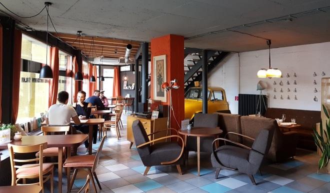 Retro style at Café Škodovka. Food tour in Bratislava, Slovakia.