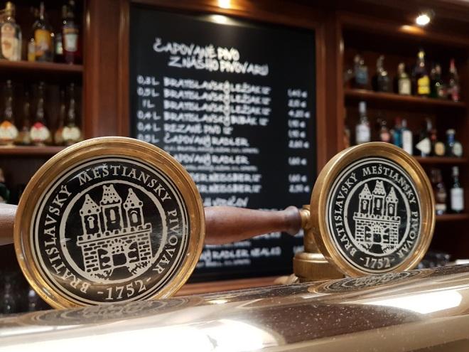 The bar at Meštiansky pivovar, a popular micro brewery. Food tour in Bratislava, Slovakia.