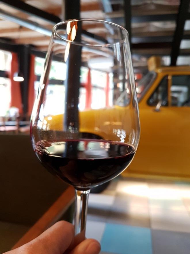 The Slovak red wine Dunaj. Food tour in Bratislava, Slovakia.