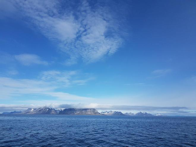Beautiful scenery as we go by RIB boat from Isfjord Radio to Barentsburg. Svalbard, Norway.