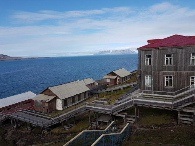 Stairs from the harbor to the settlemet in Barentsburg, Svalbard, Norway.