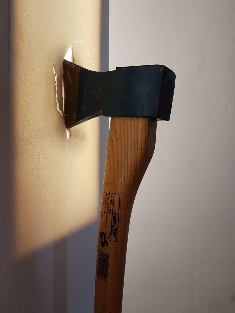 The axe used to chop the furniture's of the ex in small pieces. One of the items at the Museum of Broken Relationships. Zagreb, Croatia.