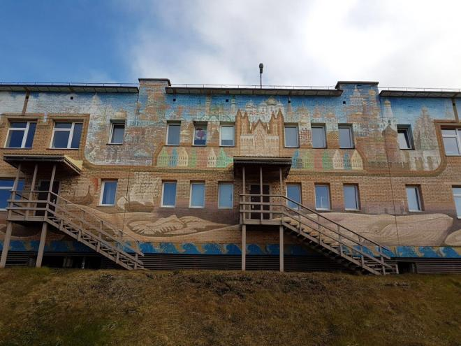 The decorated school in Barentsburg. Svalbard, Norway.
