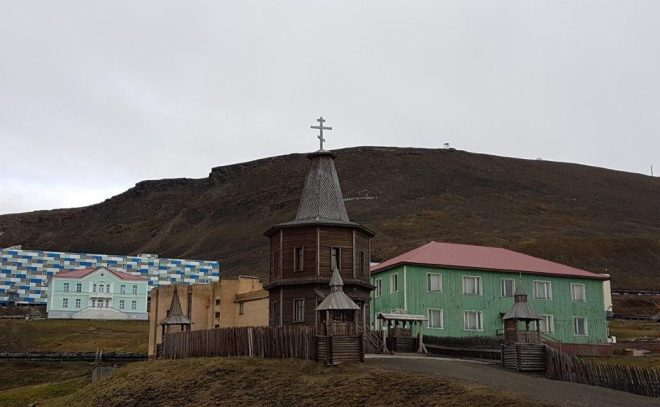 The Orthodox Church was built in 1996, after the fatal air crash that left 141 Russians and Ukrainians dead. Barentsburg, Svalbard, Norway.